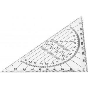 Háromszögű vonalzó és szögmérő, műanyag